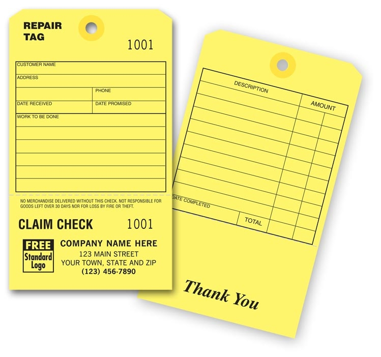 R2535 - Repair Tags with Claim Check - Personalized Repair Tags