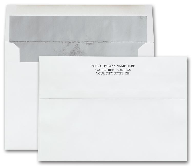 white holiday card envelopes with silver foil liner ref sl103i