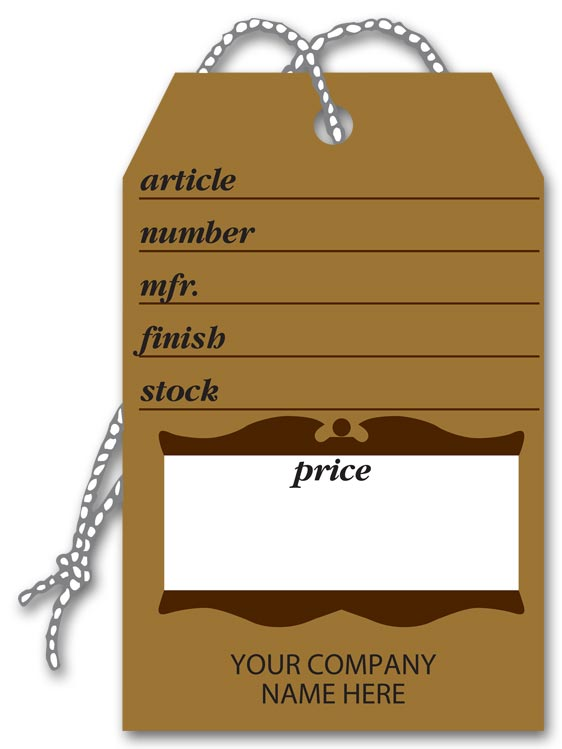Furniture price tags in brown and showing article number, stock, color and more.