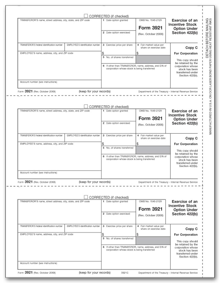 TF3921C - 3921 Laser Tax Forms, Copy C