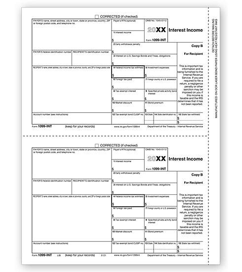 Laser 1099 Int Tax Forms Recipient Copy B Ref Tf5121