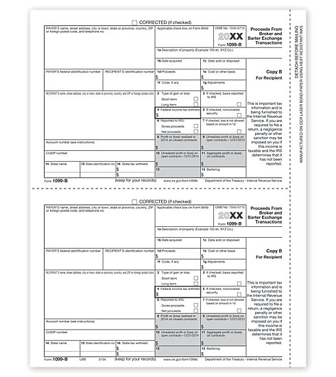 TF5154 - IRS Forms - Laser 1099-B - Payer or Borrower Copy B
