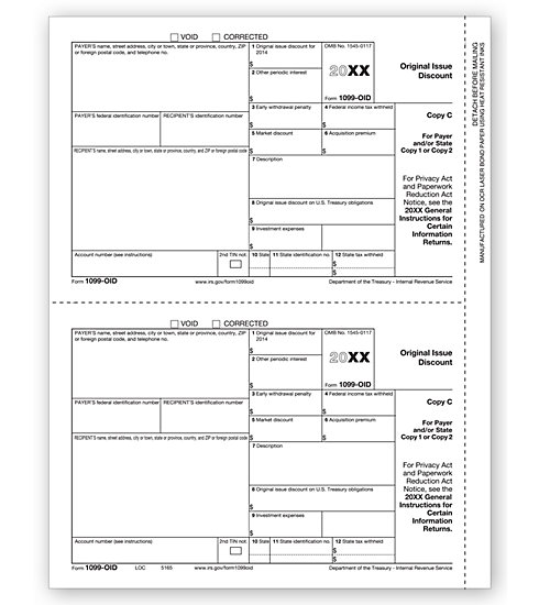 TF5165 - IRS Tax Forms - Laser 1099 OID - Lender or State Copy C