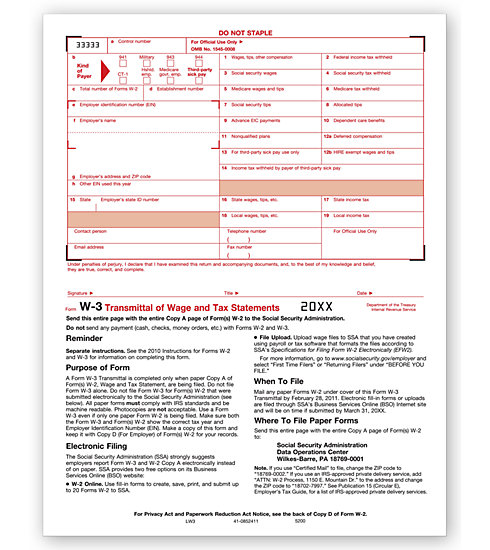 TF5200 - Laser W-3 Form - Transmittal of Wage and Tax Statements