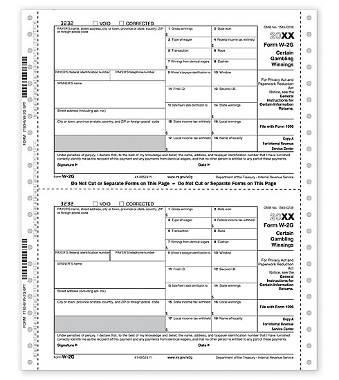 TF7193 - Continuous W-2G Form, 6-part