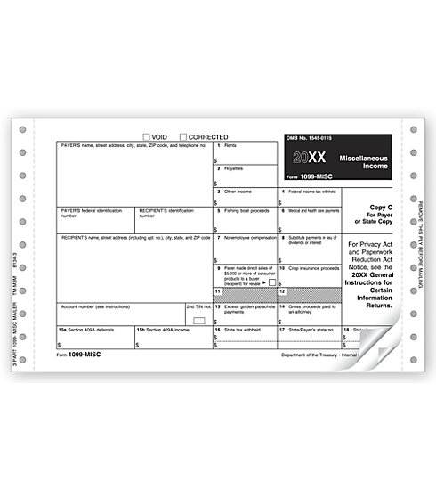 TF8134 - Continuous 1099-MISC Form - Miscellaneous Income, Self-Mailer