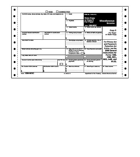 TF8234 - Continuous 1099 Form - Miscellaneous Income, Self-Mailer
