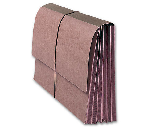 Expandable gusset and durable elastic make opening or closing bulky files a snap.