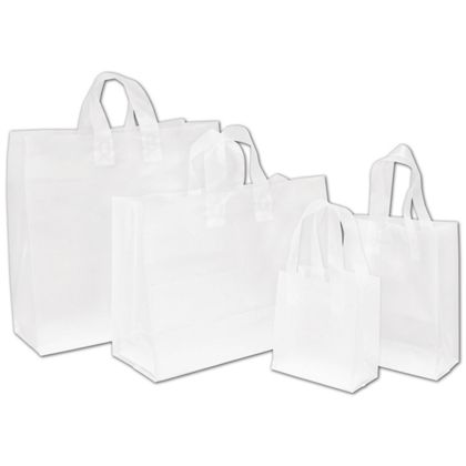 These sturdy clear frosted shopping bags are ideal for packaging virtually any sized gift.