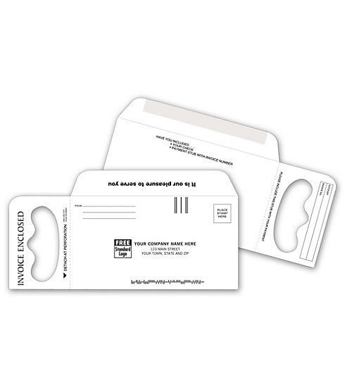 Door Hanger & envelope combination is custom printed with your return address to leave invoices at your customer's door.