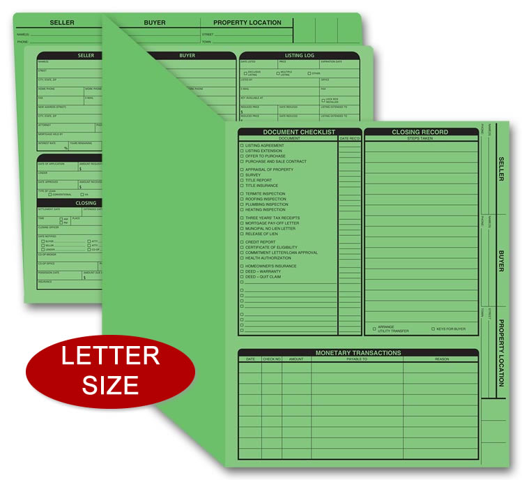 These green real estate folders include the closing list on the right panel.