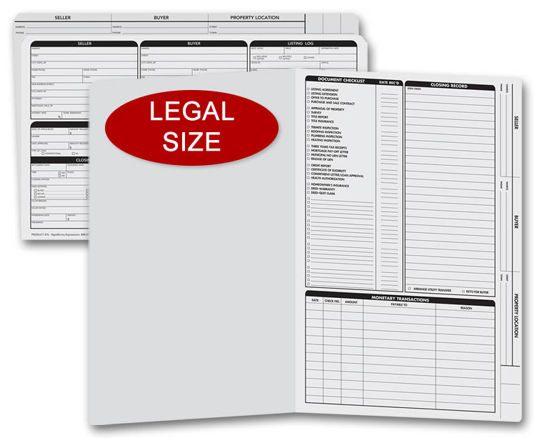 Legal size gray real estate listing folders with a closing list on the right panel.