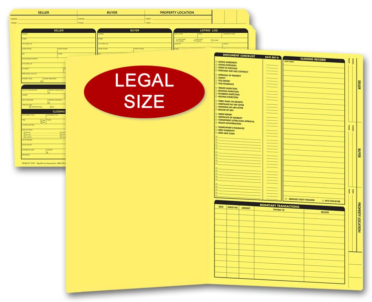 Legal size yellow real estate listing folders with a closing list on the right panel.
