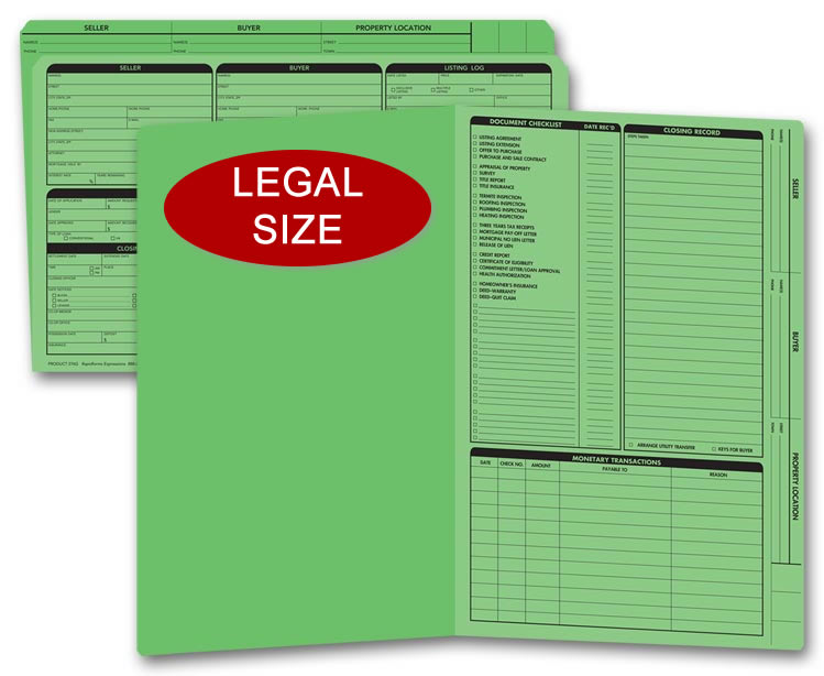 Legal size green real estate listing folders with a closing list on the right panel.