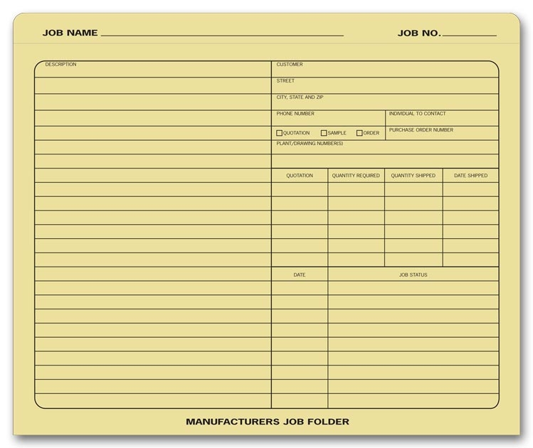 Use these folders to keep your manufacturing job organized.