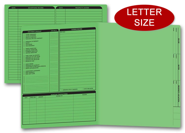 These green real estate folders come with a closing list on the left panel.