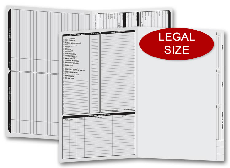 These gray real estate folders come with a closing list on the left panel and are printed on legal size stock.