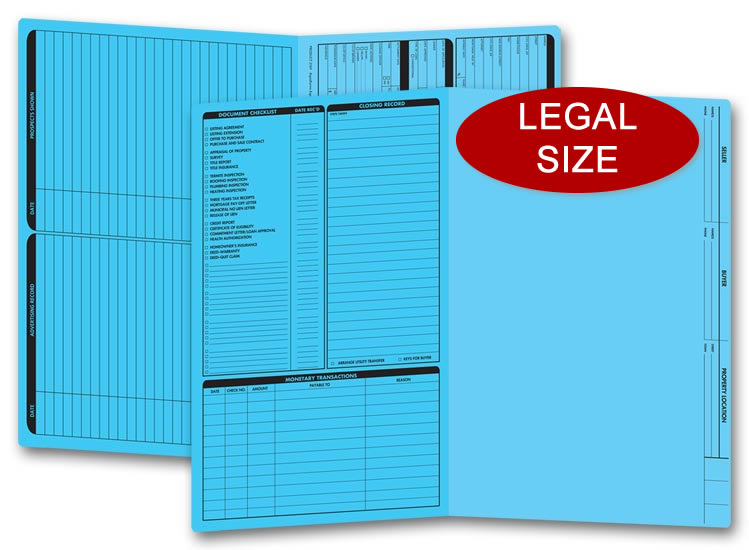 These blue real estate folders come with a closing list on the left panel and are printed on legal size stock.