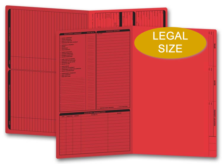 These red real estate folders come with a closing list on the left panel and are printed on legal size stock.