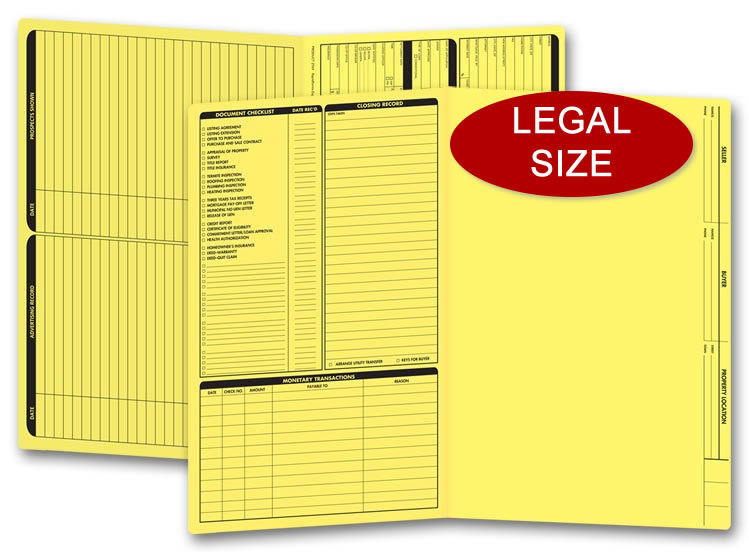 These yellow real estate folders come with a closing list on the left panel and are printed on legal size stock.