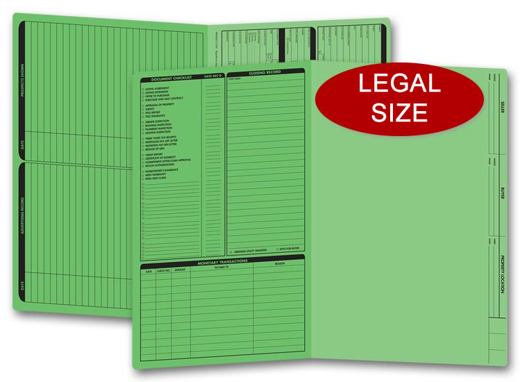 These green real estate folders come with a closing list on the left panel and are printed on legal size stock.
