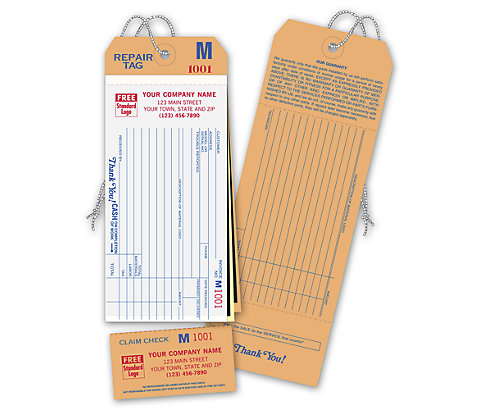 Compact, heavy-duty tags. 16# White Bond stock. Pre-strung and pre-numbered for your convenience.
