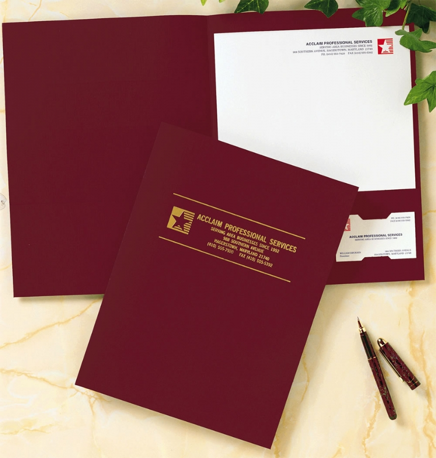 PF25 - Linen Pocket Folders | Burgundy Pocket Folders