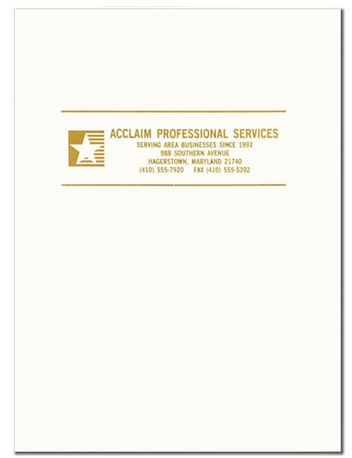 PF25 - Custom Presentation Folders | White Glossy Custom Presentation Folders