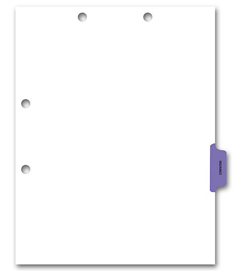 Chart Dividers - Preprinted Medical Chart Divider Sheets