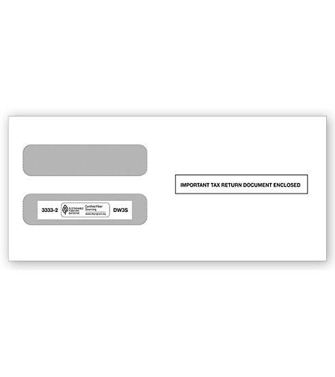 TF33332 - Double-Window Envelope - Horizontal W-2, 3-Up