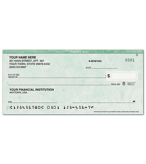 Personal Check - Green Marble