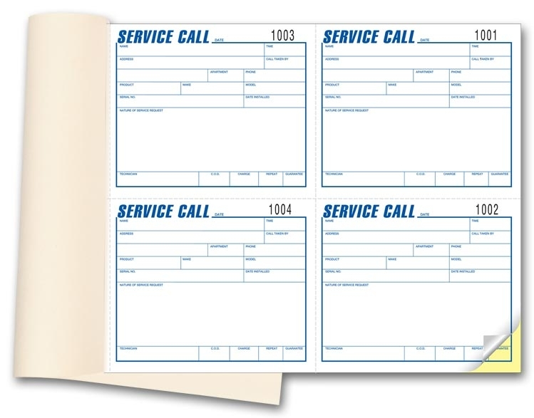 Keep track of incoming phone calls with these service calls books