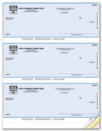 These Laser Business Checks allow you to print 3 checks at once. Pay for all of your invoices. Choose check color.