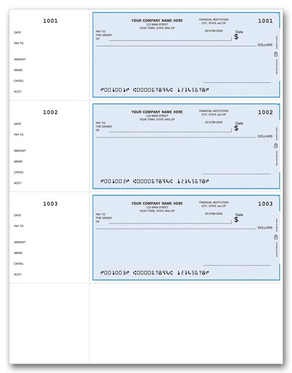 These handy business checks are perfect for paying any bills. They come with detachable side stubs.