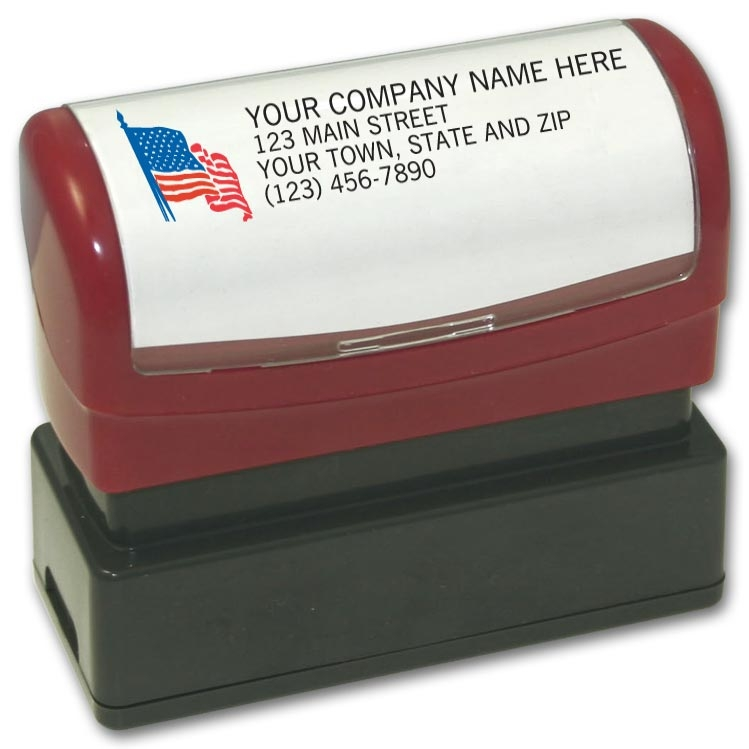 D1337 - Pre-inked Address Stamp with American Flag