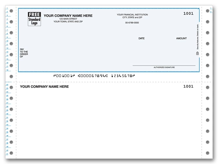 Personalized Continuous Business Checks with blank bottom stub. Choose typestyle and check color.