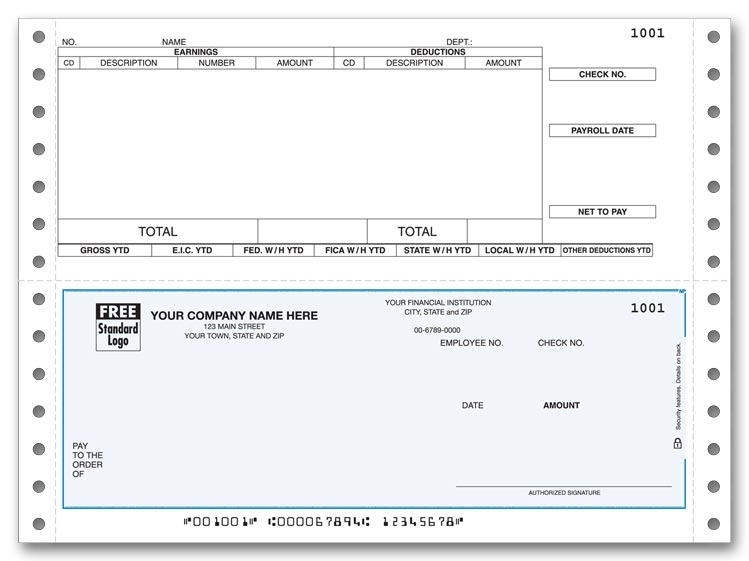Continuous Payroll Checks are convenient with a pre-printed detachable stub. Personalize. Choose your background color.
