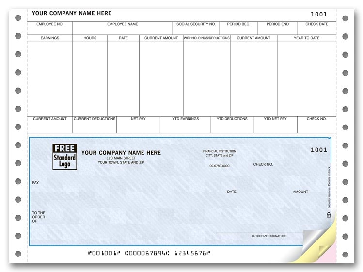 Tractor feed payroll checks are perfect for payroll. With a detachable top stub and columns and headers for easy organization