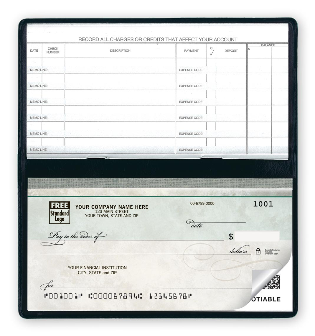 51200N - Compact Size Duplicate Checks, Green Marble Design