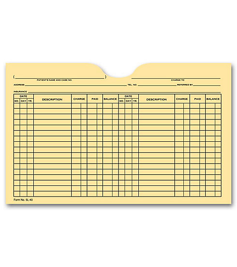 Record patient information easily on the front of these convenient file pockets, preprinted in a flexible double-column forma