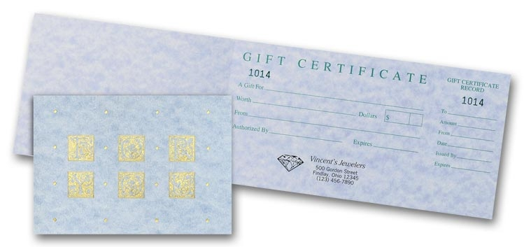 Delicate and elegant parchment gift certificates are the perfect choice for your salon or spa.