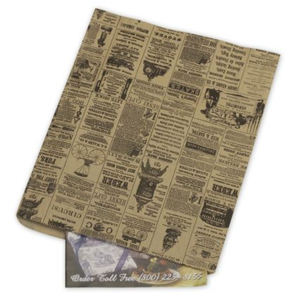 These newsprint merchandise bags are perfect for packaging small items.