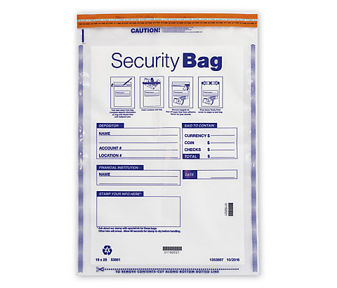 Large, super heavy duty security bags for high volumes of cash.