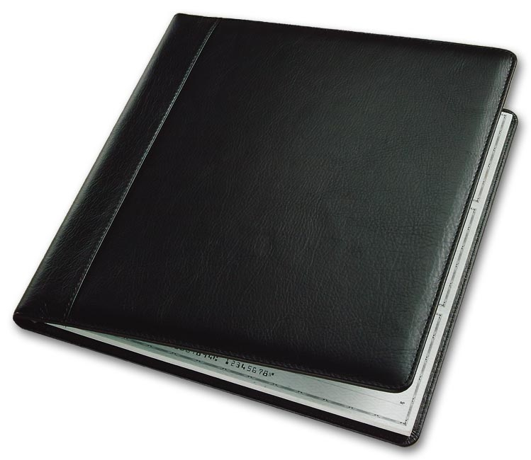 54034N - Leather Check Cover, Black