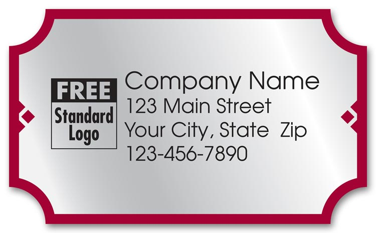 These advertising labels are silver foil with a red border. Include your business information printed.