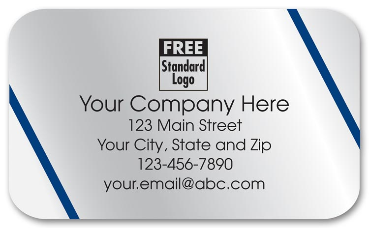 Silver foil labels printed in black ink with your company name between 2 diagonal blue lines.
