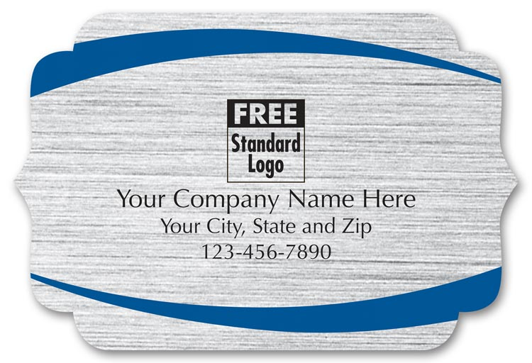 These weatherproof brackets shape labels are printed with your company name on brushed silver stock.