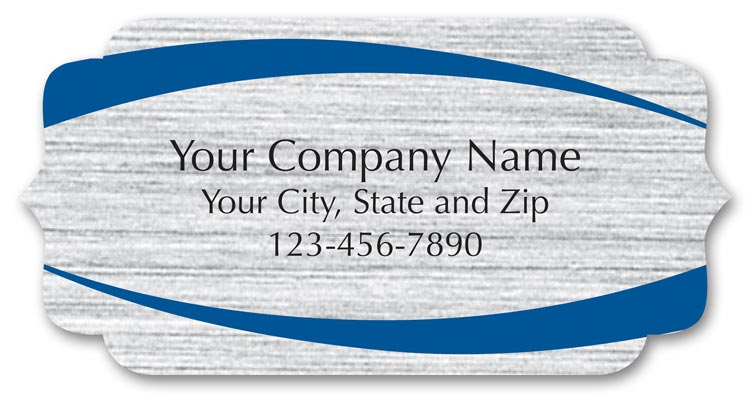 These bracket shaped labels are printed on brushed silver stock with your business information.