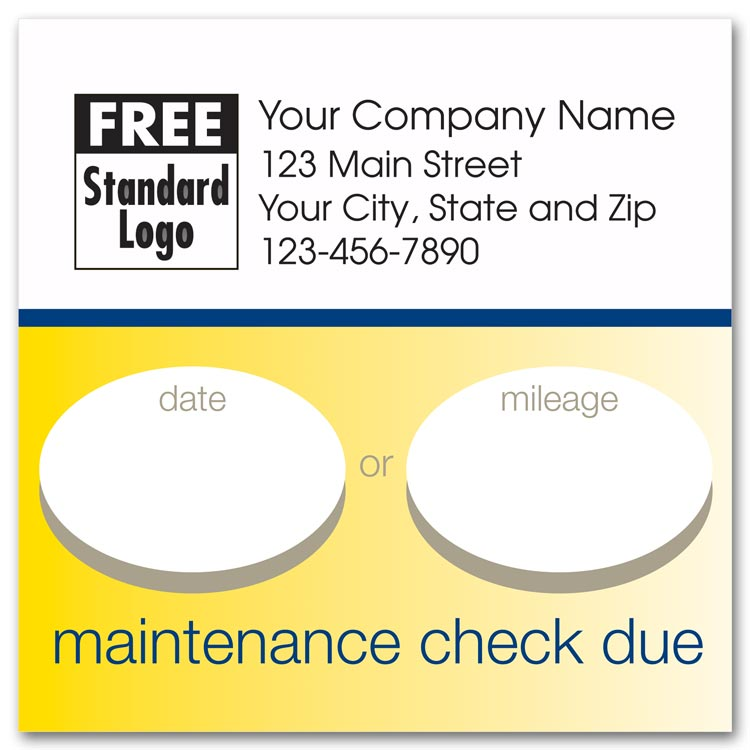 Static cling auto maintenance due labels, to remind your customer to come back at a certain date or mileage.