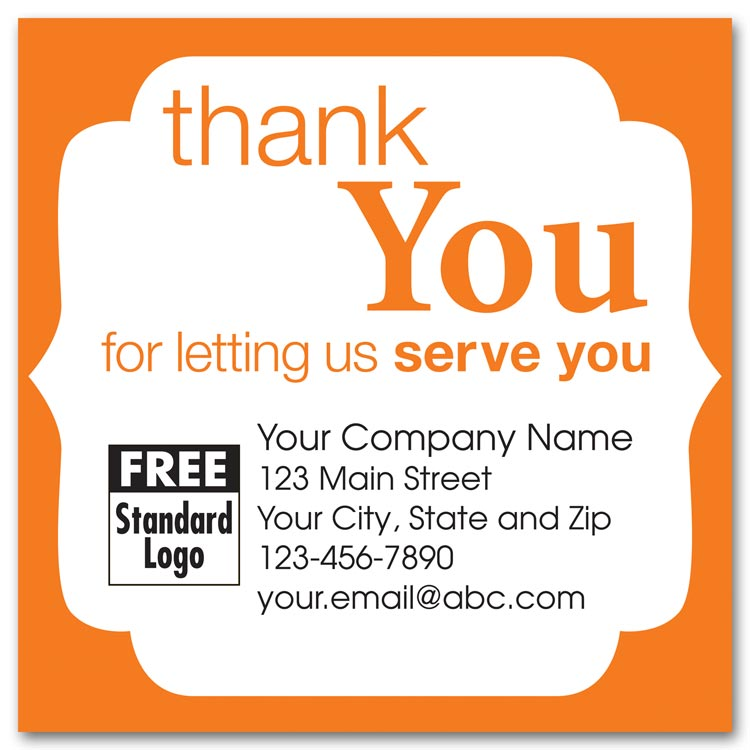 These custom printed orange labels are customized in black ink with an orange trim design to say thank you.